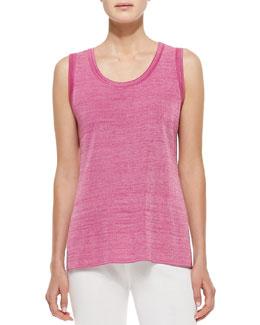 Misook Melange Knit Tank, Pink Melange