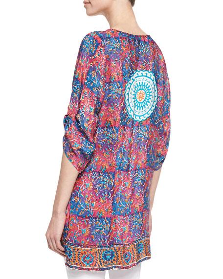 Madison Silk Ruched-Sleeve Tunic, Women's