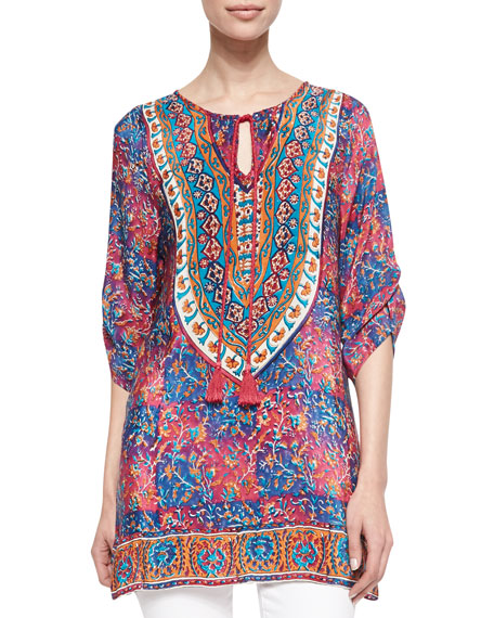 Madison Silk Ruched-Sleeve Tunic, Women's