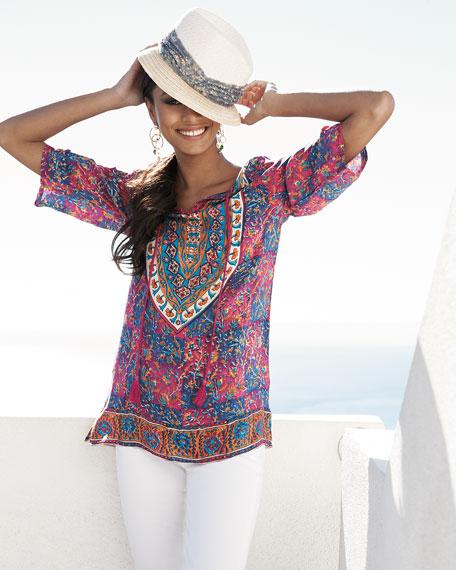 Madison Silk Ruched-Sleeve Tunic