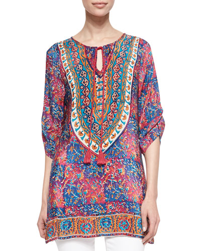Tolani Madison Silk Ruched-Sleeve Tunic