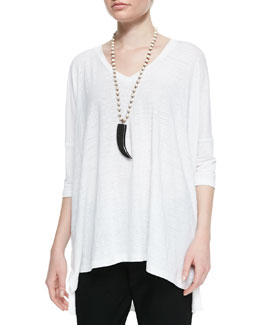 Eileen Fisher Linen V-Neck Boxy Tunic, Women's
