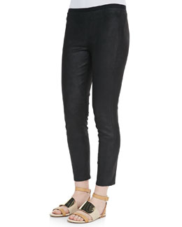 Theory Pidasha Cropped Leather Leggings