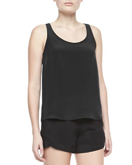 Theory  Isaac Sleeveless Silk Tank Top