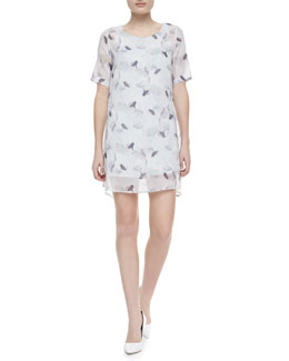 Theory Lousaine Printed Short-Sleeve Dress