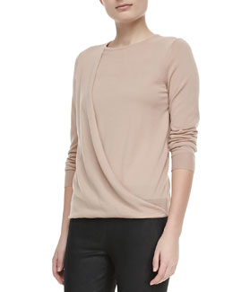Theory Sempra Drape Long-Sleeve Sweater