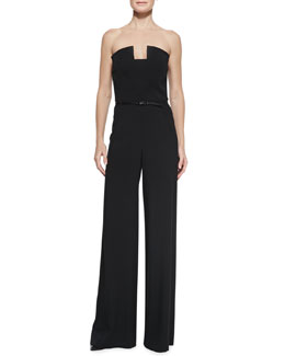 Black Halo Lena Strapless Wide-Leg Jumpsuit