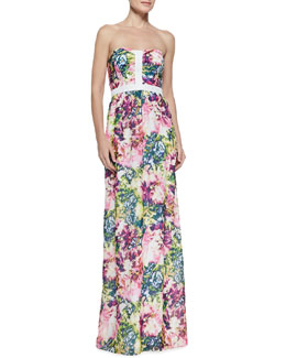 Black Halo Bentley Floral-Print Maxi Dress