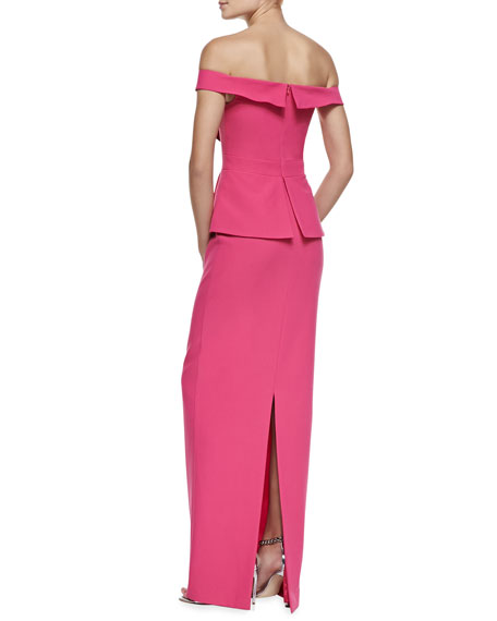La Reina Reo Off-The-Shoulder Gown