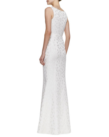 Elise Diamond Print-Brocade Gown