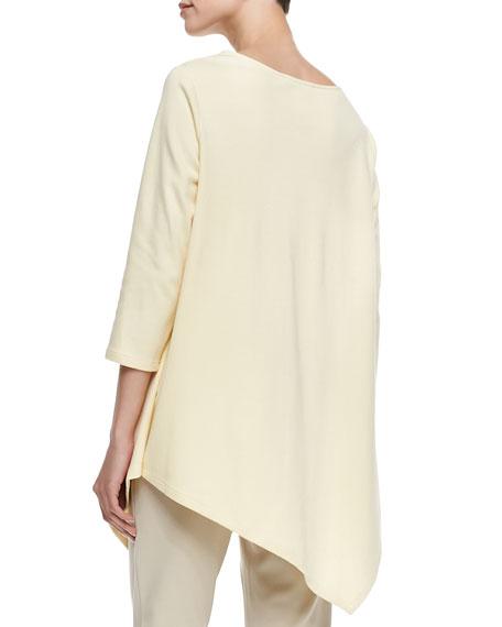 3/4-Sleeve Asymmetric Tunic, Petite