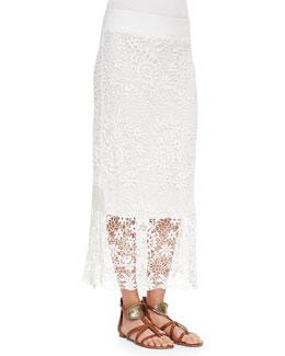 XCVI Lynnea Crochet Sheer-Hem Skirt
