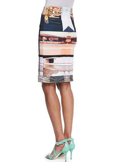 Desert Home Neoprene Pencil Skirt
