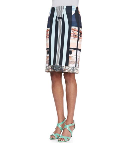 Desert Home Neoprene Pencil Skirt