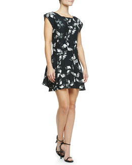 Halston Heritage Cap-Sleeve Printed Dress