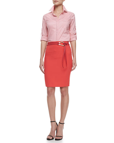 Fitted Ponte Pencil Skirt