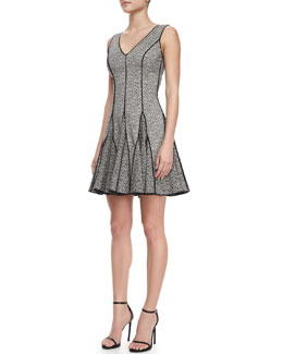 Halston Heritage Outlined Printed Flare Dress