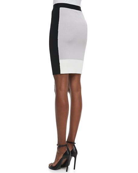 Colorblock Sweater-Knit Pencil Skirt