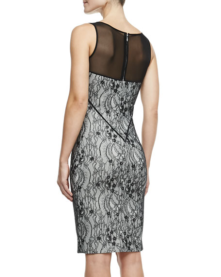 Sleeveless Lace Knit Dress, Shell/Black