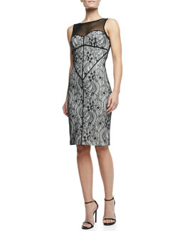 Halston Heritage Sleeveless Lace Knit Dress, Shell/Black