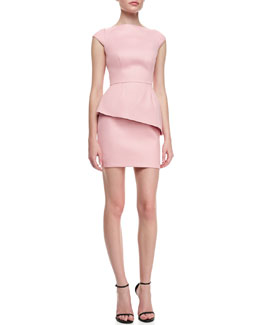 Halston Heritage Cap-Sleeve Fitted Dress