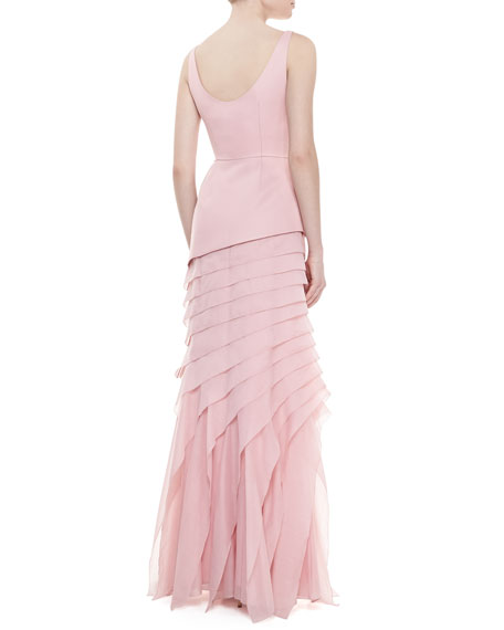 Tiered-Skirt Crepe Gown