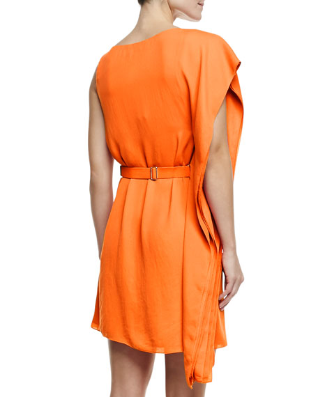 Asymmetric Drape Sleeve Dress with Belt, Tangerine