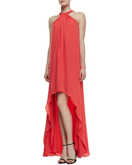 Halston Heritage Halter-Neck Pintuck High-Low Gown
