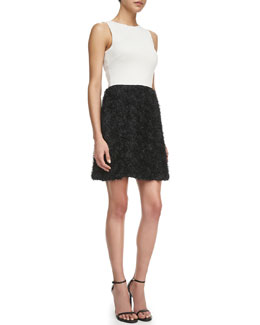 Halston Heritage Rosette Sleeveless Dress