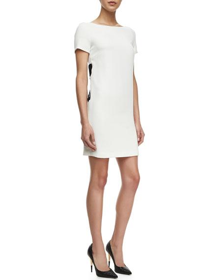 Crepe Cap-Sleeve Floral Inset Sheath Dress