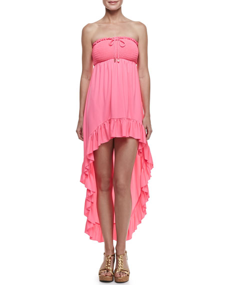 Bow Chic Smocked High-Low Coverup
