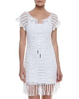 Letarte Banana Leaf Crochet Coverup,White