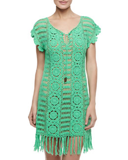 Letarte Banana Leaf Crochet Coverup, Green Leaf