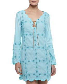 Letarte Long-Sleeve Embroidered Coverup Dress