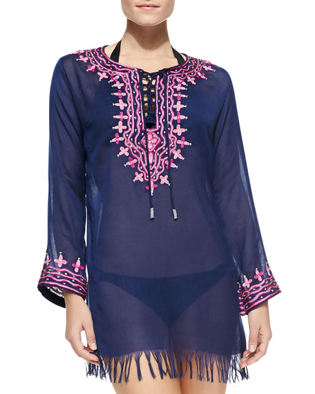 Ikat Medallion Embroidered Tunic Coverup