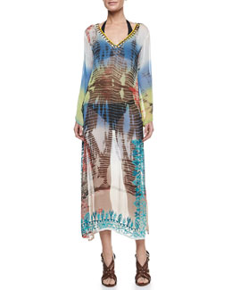 Letarte Flora & Fauna Maxi Coverup Dress