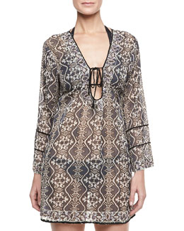 Letarte Tribal Long-Sleeve Tunic Coverup