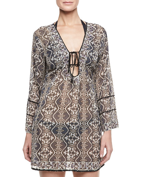 Tribal Long-Sleeve Tunic Coverup