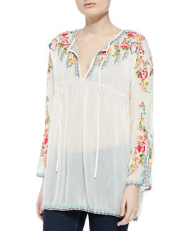 Johnny Was Collection Georgia Peach Embroidered Blouse, Cloud Cream