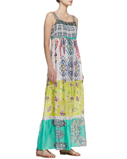 Johnny Was Collection Printed Silk Maxi Dress