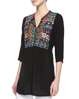 Johnny Was Collection Keaton Embroidered Blouse, Women's