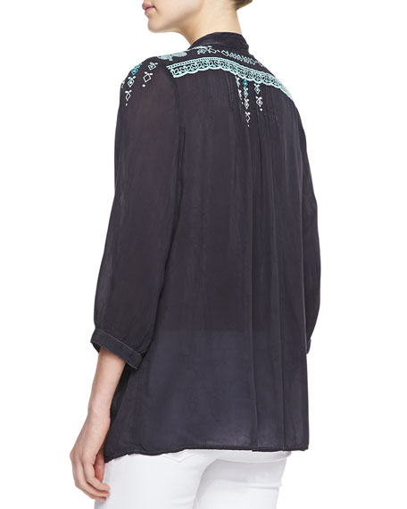 Brussels Embroidered Georgette Blouse, Women's