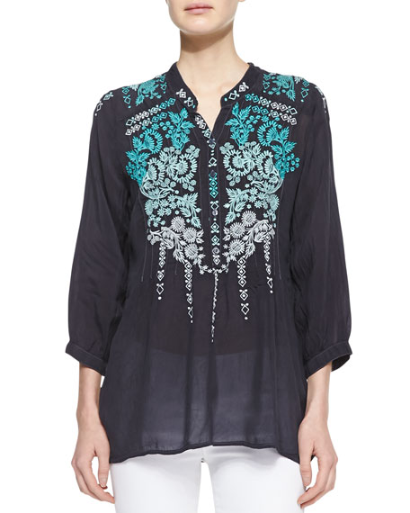 Brussels Embroidered Georgette Blouse