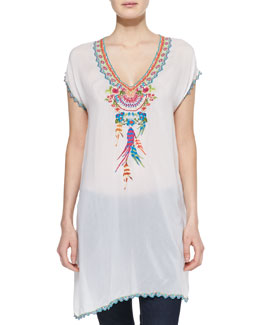 Johnny Was Collection Sweet Dreams Embroidered Georgette Tunic