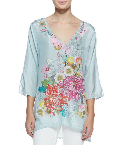 3/4-Sleeve Floral Silk Tunic, Women's