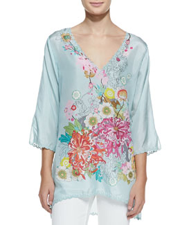 Johnny Was Collection 3/4-Sleeve Floral Silk Tunic