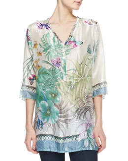 Johnny Was Collection Blue Springs Silk Tunic, Women's