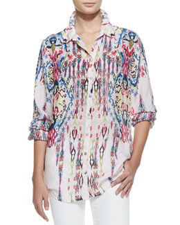 Johnny Was Collection Missy Boyfriend Printed Silk Shirt