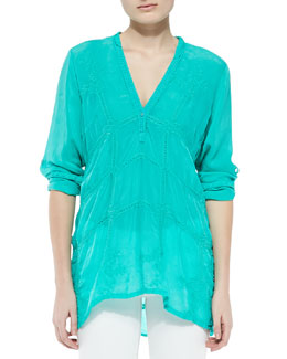 Johnny Was Collection Mandarin Georgette Blouse, Women's