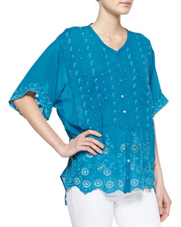Johnny Was Collection Daisy Eyelet Short-Sleeve Blouse, Women's
